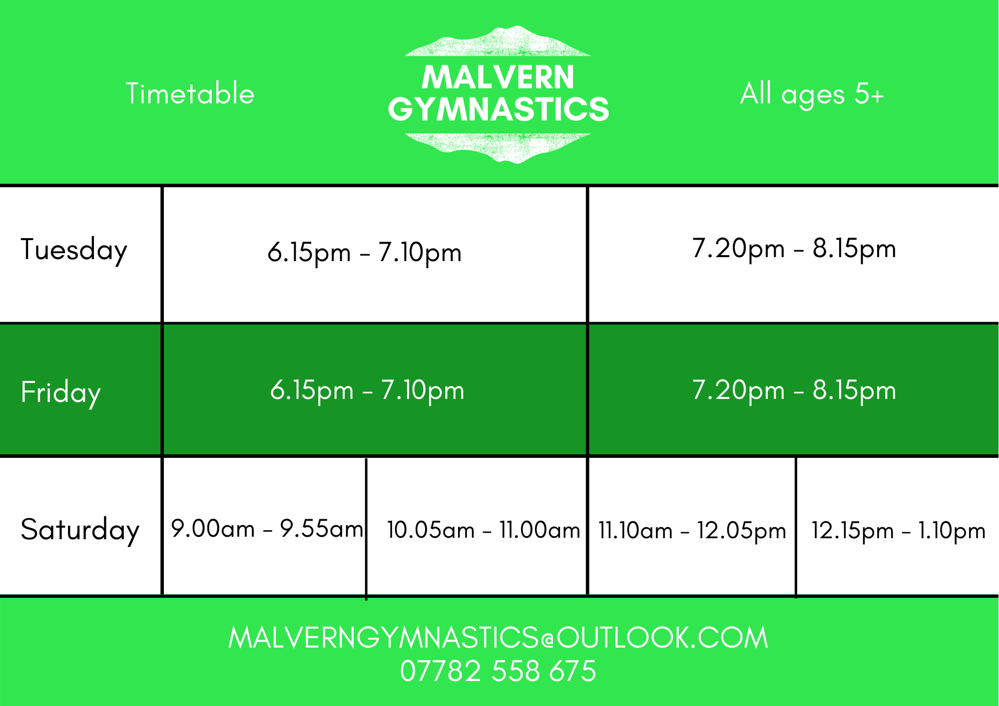Malvern Gymnastics Timetable showing the Clubs Sessions at Malvern Active